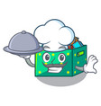 chef with food kids toys in the cartoon box vector image