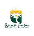 coconut tree logo with beach view vector image