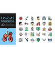 covid19-19 corona virus icons filled outline vector image