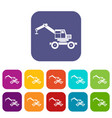crane truck icons set flat vector image vector image