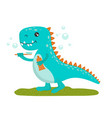 cute little baby dinosaur with a toothbrush
