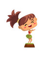cute smiling hawaiian girl dancing hula in vector image vector image