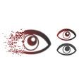disintegrating pixel halftone eye icon vector image vector image