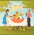 family easter dinner flat poster vector image
