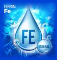 fe ferrum mineral blue drop icon vitamin vector image vector image