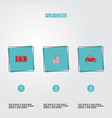 flat icons automotive car streetcar and other vector image