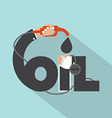 Fuel Nozzle In Hand With Oil Typography Design vector image vector image