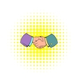 Handshake icon in comics style vector image vector image