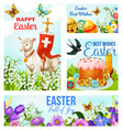 Happy easter cross and eggs cards