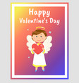 happy valentines day greeting card with angel vector image vector image
