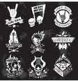 Heavy Metal rock badges set vector image