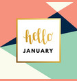 hello january hew year creative minimal winter vector image vector image