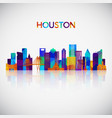 houston skyline silhouette in colorful geometric vector image vector image