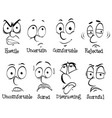 human emotions with words and faces vector image vector image