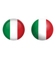 italy flag under 3d dome button and on glossy vector image