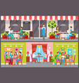 men and women in city cafe interior and exterior vector image vector image