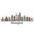 outline shanghai china city skyline with modern vector image
