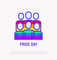 pride day line icon people in rainbow t-shirts vector image