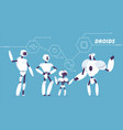robot group various androids models standing vector image
