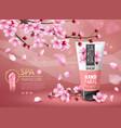sakura cosmetic cherry blossom sakura branches vector image