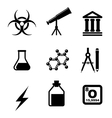 Science icons and symbols vector image