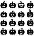 Set of black Halloween pumpkin icons