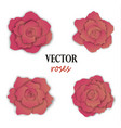 set of four paper pink roses vector image vector image