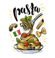 sketch italian pasta with tomatoes on a fork vector image