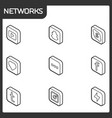social network outline isometric icons vector image vector image