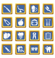 stomatology dental icons set blue square vector image vector image