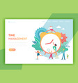 time management planning teamwork landing page vector image vector image