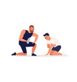 trainer making support to tired man during vector image vector image