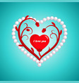 valentines day flower heart and pearl vector image vector image