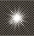 white glowing light burst with transparent on vector image
