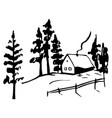 winter landscape with a house sketch vector image vector image