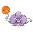 with basketball orchid flower character cartoon vector image vector image