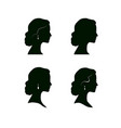 woman face profile silhouette female hairstyle vector image