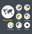 world and continent map on circle vector image vector image