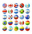 world flags round badges magnets north and south vector image vector image