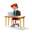 cartoon business woman at workplace laptop vector image