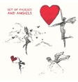 Drawn set flying fairiy angel heart sketch vector image