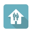 Square young family house icon vector image