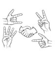 hand drawn fingers gesture set vector image