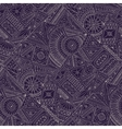 Seamless asian ethnic floral doodle pattern vector image