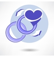 wedding ring in heart isolated on white background vector image