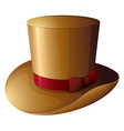A brown hat with a red ribbon vector image vector image