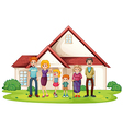 A family in front of their big house vector image vector image