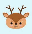 a head of a cute deer on a blue background vector image vector image