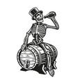a skeleton is drinking a bottle beer vector image