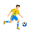 abstract yellow football player with ball soccer vector image vector image